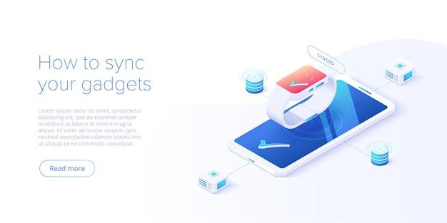 Conceito de sincronização de smartphone e relógio inteligente