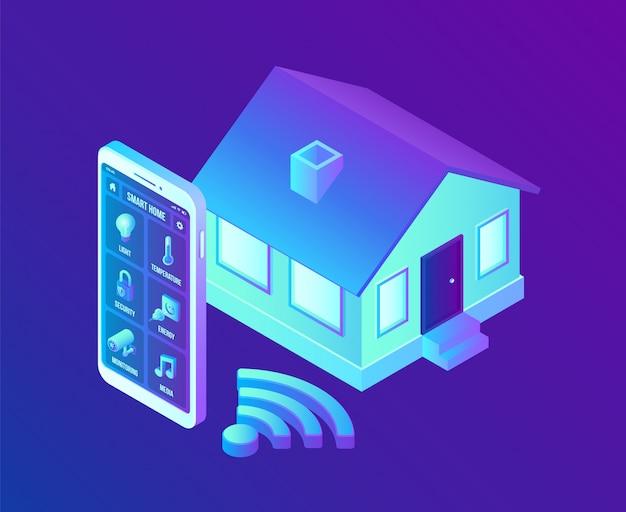 Conceito de sistema de casa inteligente. sistema de controle remoto isométrico da casa 3d. conceito muito.