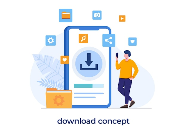 Conceito de sistema de download gratuito, internet, atualização, instalação, homem com smartphone baixando documento, vetor de ilustração plana