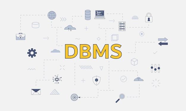 Conceito de sistema de gerenciamento de banco de dados dbms com conjunto de ícones com palavra grande ou texto no centro do vetor