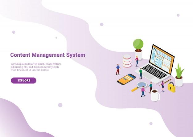 Conceito de sistema de gerenciamento de conteúdo cms para o modelo de site ou página inicial de destino