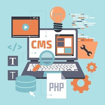 Conceito de sistema de gerenciamento de conteúdo de design plano