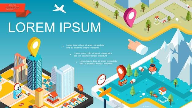 Conceito de sistema de navegação móvel isométrica com mapa colorido, ponteiros, estradas, cidade, montanhas, árvores, transporte, ilustração