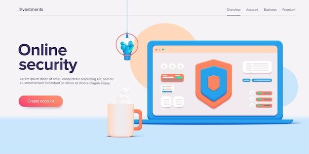 Conceito de sistema de proteção online de segurança de dados móveis