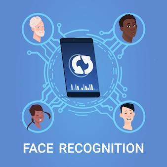 Conceito de sistema de reconhecimento de digitalização de rosto biométrico tecnologia de controle de acesso de telefone inteligente moderno
