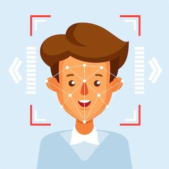 Conceito de sistema de reconhecimento facial de identificação facial.