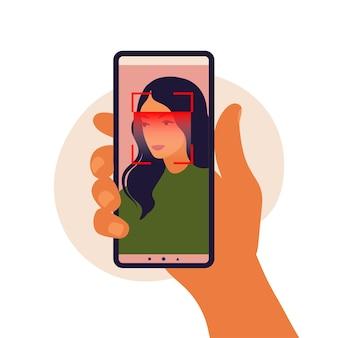 Conceito de sistema de reconhecimento facial. identificação facial, sistema de reconhecimento facial. varredura do sistema de identificação biométrica facial no smartphone. aplicativo móvel para reconhecimento facial.