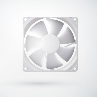 Conceito de sistema de refrigeração leve com ventilador de computador em estilo realista em branco isolado