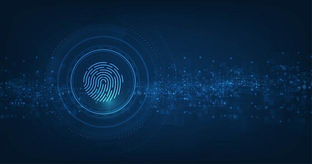 Conceito de sistema de segurança abstrata do vetor com impressão digital em fundo de tecnologia.