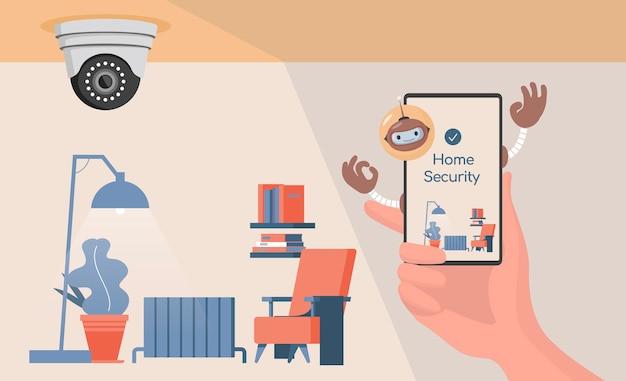Conceito de sistema de segurança residencial inteligente