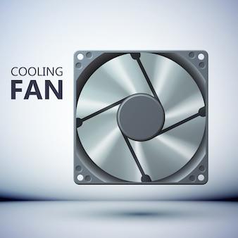 Conceito de sistema de ventilação por computador com ventilador realista