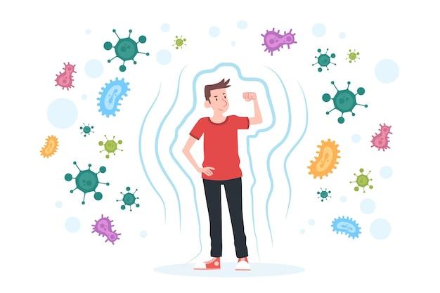 Conceito de sistema imunológico com homem