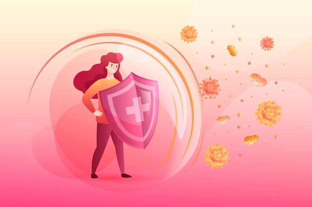 Conceito de sistema imunológico com mulher e escudo