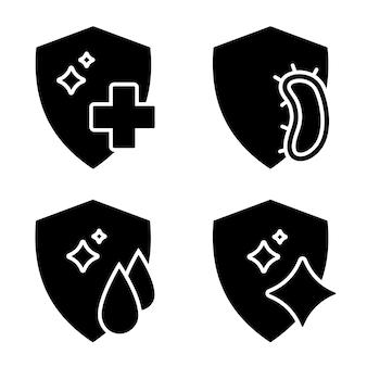 Conceito de sistema imunológico proteção de desinfecção ou símbolo de limpeza ícones de resistência antibacteriana