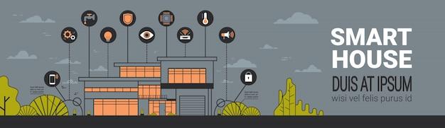 Conceito de sistema sem fio da casa do controle da casa moderna de infographics da casa da bandeira horizontal