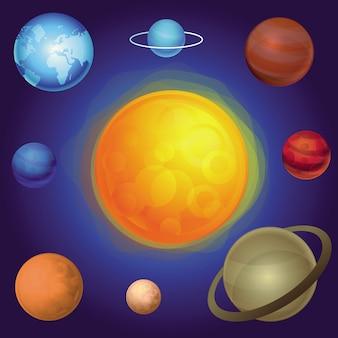 Conceito de sistema solar de vetor - resumo