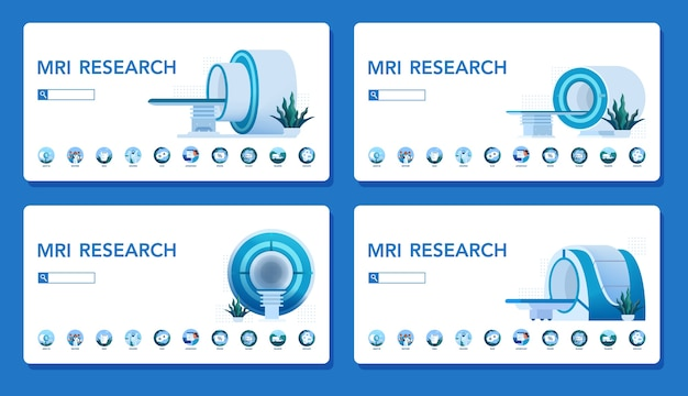 Conceito de site de clínica de ressonância magnética. pesquisa e diagnóstico médico. scanner tomográfico moderno. conceito de cuidados de saúde. conjunto de banner da web.