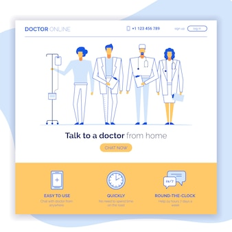 Conceito de site de médico on-line