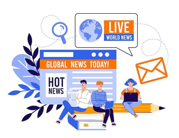 Conceito de site de notícias e informações online com pessoas dos desenhos animados Vetor Premium