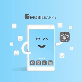 Conceito de smartphone de mercado de aplicativos online, compra, apresentação e seleção de aplicativos. telefone bonito do personagem dos desenhos animados com as mãos, olhos e sorriso.