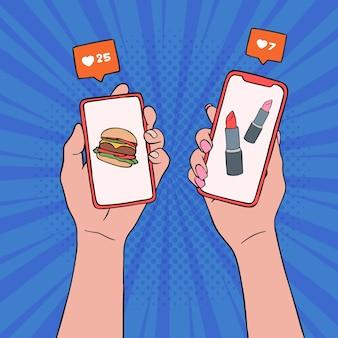 Conceito de smartphone marketing de mídia social