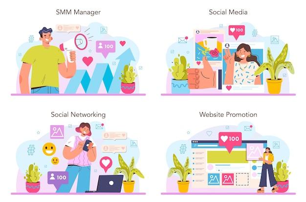 Conceito de smm definir publicidade de marketing de mídia social de negócios