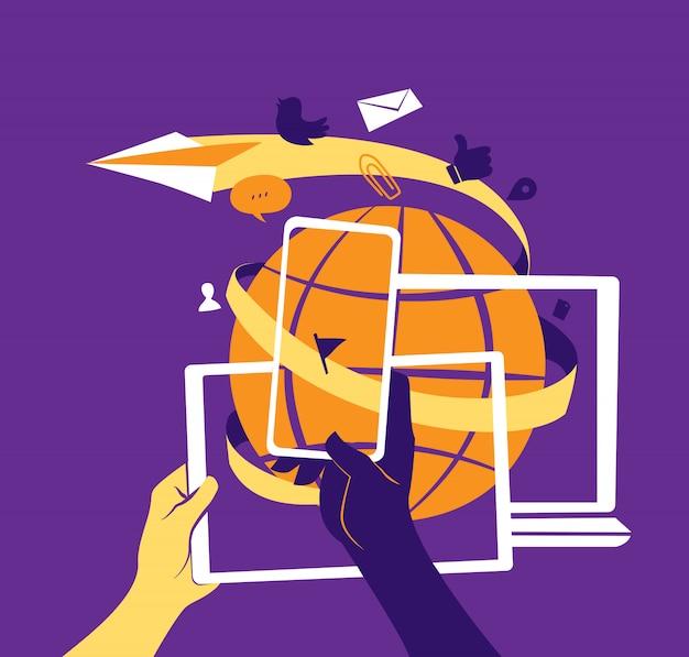 Conceito de social media marketing e comunicação global.
