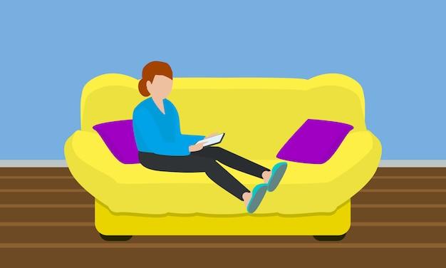 Conceito de sofá amarelo suave em estilo simples