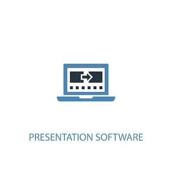 Conceito de software de apresentação 2 ícone colorido. ilustração do elemento azul simples. design de símbolo de conceito de software de apresentação. pode ser usado para ui / ux da web e móvel