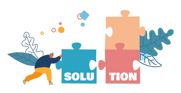 Conceito de solução, compromisso e solução de tarefa de negócios.