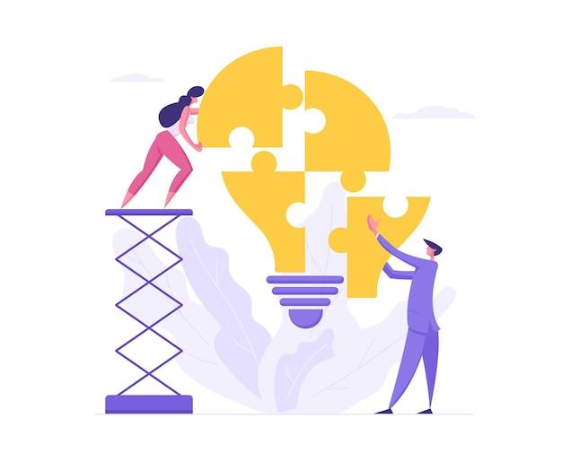 Conceito de solução de negócios de trabalho em equipe com ilustração de personagens