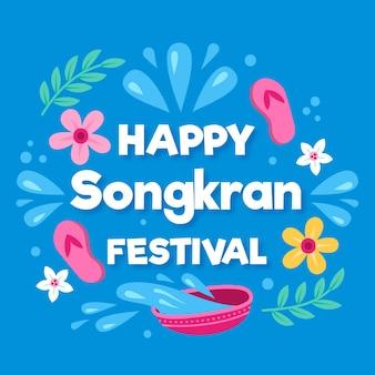Conceito de songkran desenhado de mão