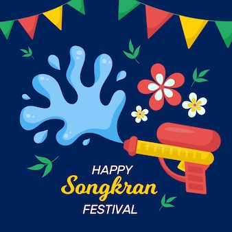 Conceito de songkran em design plano