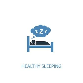 Conceito de sono saudável 2 ícone colorido. ilustração do elemento azul simples. design de símbolo de conceito de sono saudável. pode ser usado para ui / ux da web e móvel