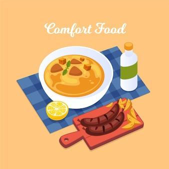 Conceito de sopa e salsichas