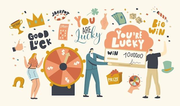 Conceito de sorte e fortuna. personagens ganham na loteria e sorteio do sorteio.