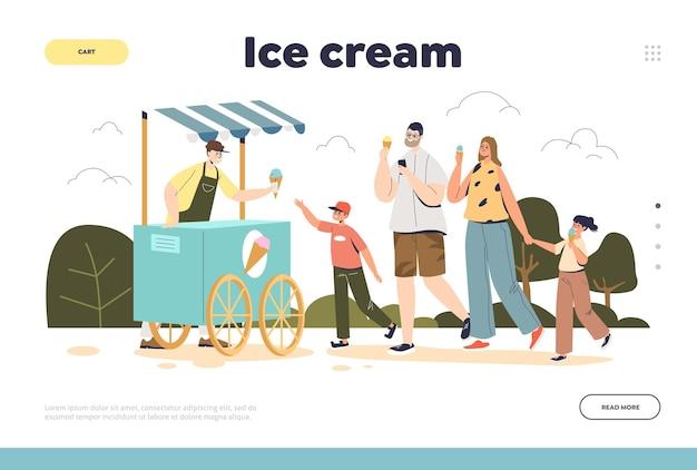 Conceito de sorvete de página de destino