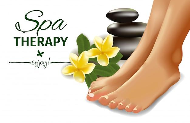 Conceito de spa com pés femininos realistas, frangipani e pedras. ilustração.