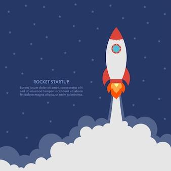 Conceito de startup com lançamento de foguete banner comercial com nave espacial desenvolvimento e projeto avançado