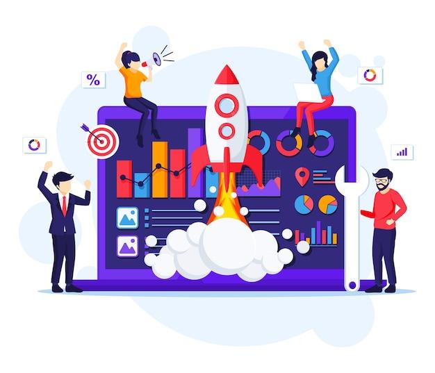 Conceito de startup de negócios, pessoas que trabalham na ilustração de lançamento de foguete
