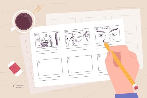 Conceito de storyboard de desenho à mão
