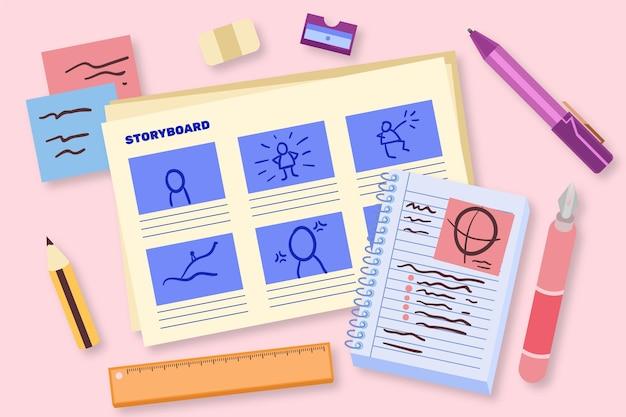 Conceito de storyboard de design plano