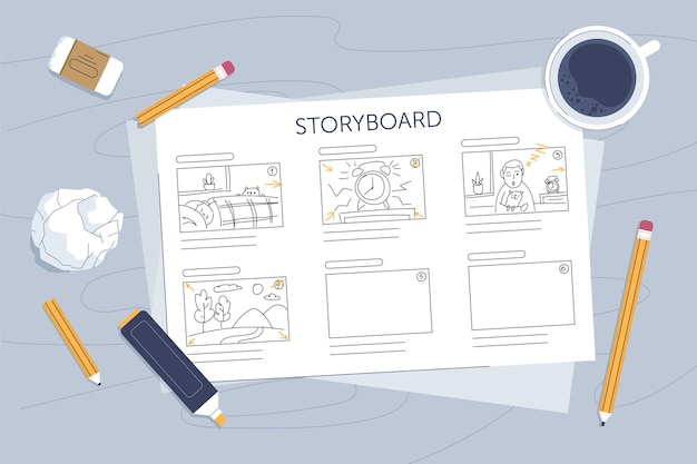 Conceito de storyboard ilustrado