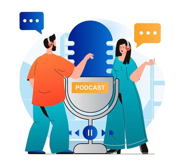 Conceito de streaming de podcast em design moderno plano mulher e homem com fones de ouvido falando no microfone