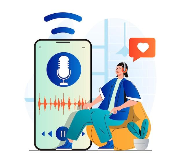 Conceito de streaming de podcast em design plano moderno mulher com fones de ouvido curtindo o podcast