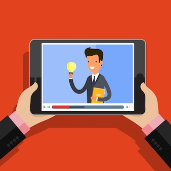 Conceito de streaming, estudo e aprendizagem, educação a distância e crescimento do conhecimento. ícones de conferência e webinar online. design plano, ilustração vetorial.