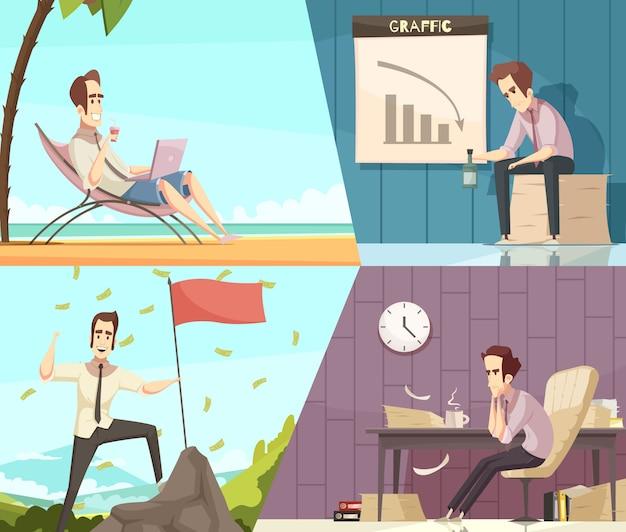 Conceito de sucesso e fracasso de negócios 2 banners de desenhos animados retrô com chuva de dinheiro e frustração isolada
