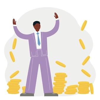 Conceito de sucesso empresarial. homem feliz de terno com muitas moedas de ouro