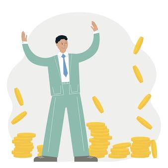 Conceito de sucesso empresarial. homem feliz em um terno em torno de um monte de moedas de ouro. ilustração vetorial