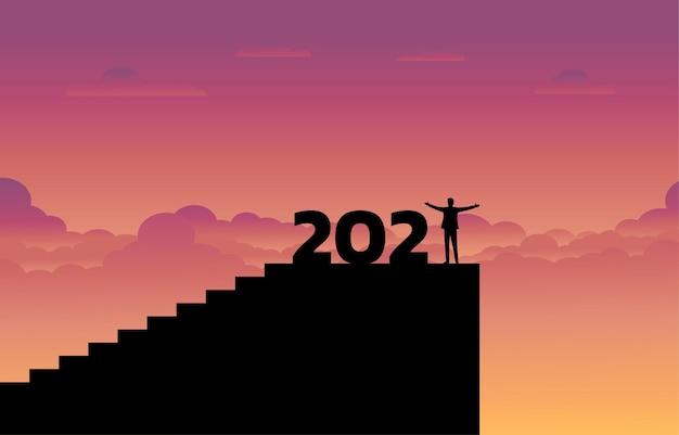 Conceito de sucesso empresarial no novo ano de 2021.
